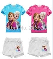 2014 summer girls princess Anna Elsa and Skirt Set 2 - 7 years old cute baby and children's cartoon T-shirt + shorts
