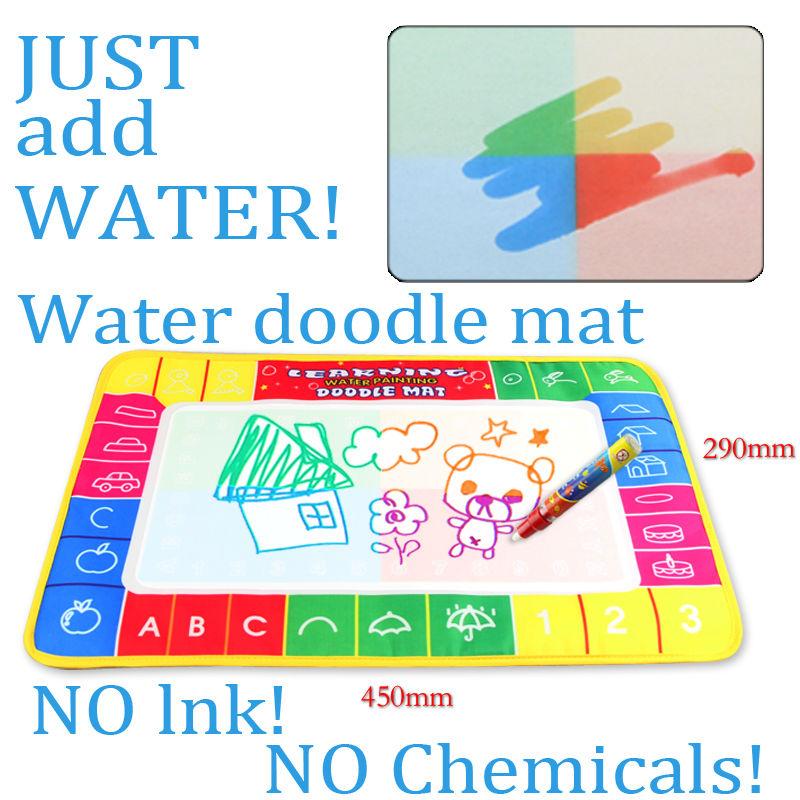 Free shipping 45x29cm 4 colors Water Drawing board with 1pcs magic pen /Aquadoodle drawing MatWater Drawing board(China (Mainland))