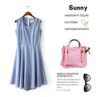 Basic sleeveless tank dress summer women's one-piece dress slim chiffon one-piece dress
