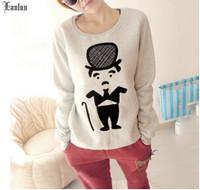 Lanluu New Popular Shirts 2014 Autum & Winter Thicking O-neck Casual Cartoon Women Sweatshirts Coat SQ433