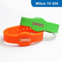 Silicone RFID wristband, RFID Wristband RFID Bracelet for access control with MF1 S50 (FUDAN) Chip Free Shipping