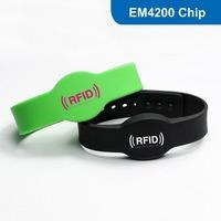 Waterproof Smart Silicone RFID Wristband, Silicone RFID Wristband RFID Bracelet with EM4200 Chip Free Shipping