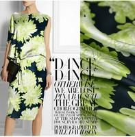 silk crepe satin plain fabric 100%pure silk nice flower printing heavy DIY cloth 19momme green