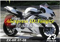 Motorcycle Fairing kit for KAWASAKI Ninja ZX6R 07 08 ZX6R 636 2007 2008 Classical white ABS Fairings set +7 gifts SC60