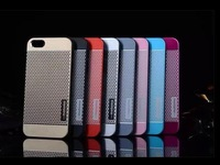 Motomo Hard Brushed Brush Aluminum metal Metallic chrome Polka dot Bubble net case For iphone 5 5S 5G Alloy Fashion Luxury cove