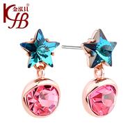 2014 New Fashion 18K Gold Plated Crystal Stud Earrings Flower Rhinestone Earrings for Women!