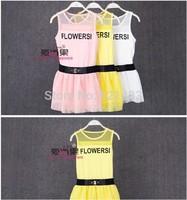 Large Girls 2014 summer new mesh vest skirt swing dress tide belt letters