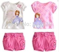 2014 girls summer cute T-shirt and Anna princess dress Elsa Set 2 - 7 years old cute children's cartoon T-shirt + short