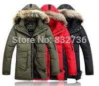 New 2014 winter men long pattem thickening jacket 90% duck down jackets & coat & parkas Red Black Green size XXXL