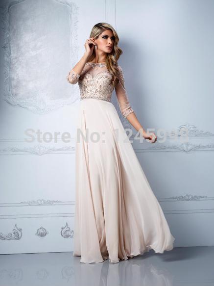 Graceful robes nouvelle mode 2014 tulle perlé mousseline. trois quart manchon de longueur de plancher blanc robes de bal robe de soirée