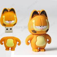 100% Real capacity  animal Garfield shaped pen drive usb flash drive pendrive memory stick disk 4G/8G/16G/32G Free Drop shipping