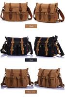 5 Colors Men Women Vintage Canvas Genuine Leather School Military Messenger Bag Men'sTravel Sport Camping Hiking Shoulder Bags