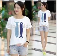 Korean new women's summer cotton printing loose big yards short sleeve t-shirt