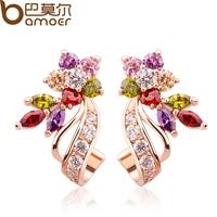 Bamoer fashion brand jewellery flower multicolor crystal earings bijoux gold filled stud earrings wedding jewelry brincoSDSE019