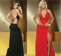 #L1065 Women Lady Sexy&Club Fashion Dress Backless Off-Shoulder Halter Prom Party Evening Floor Dress Free Shipping
