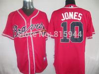 Atlanta #10 Chipper Jones red adult baseball jerseys mix order free shipping