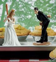 Funny Baseball Wedding Bride and Groom Cake Toppers