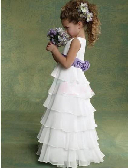 New Arrival 2014 White Flower girl dresses for weddings Little girls pageant dresses Floor-length(China (Mainland))