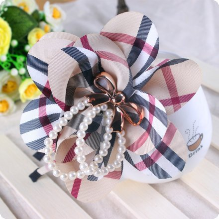 Large Flower with Imitation Pearls and Bow Headbands Plaid Fabric Big Flowers For Hair Accessories(China (Mainland))
