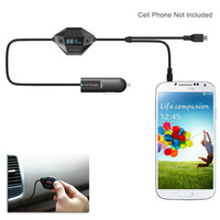 3.5mm Audio Micro USB FM Transmitter Car Charger for Samsung Galaxy HTC Motorola Android SmartPhones