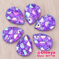 13x18mm 130pcs Acryl Droplet scale Shape Sew On rhinestone Purple Rhinestone With Two Hole Button Beads For Wedding Dress