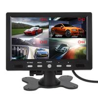 "7"" 4 Split Quad Video Input Display + Automatic Input Signal Identify TFT LCD Car Headrest Monitor For Rearview Camera DVD GPS"