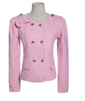2014 New Women's New Arrival Korean Lovely Round Collar Long Sleeves Winter Short Jacket Bowknot Slim Coat Pink/Khaki