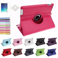 Free shipping Pu Leather Rotating Case Smart Cover Stand For New APPLE iPad 2 3 4 Tablet Case w film & Stylus