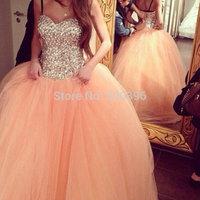 2014 Stunning Orange Tulle Beading Crystal Ball Gown Evening Dress