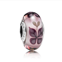 PGS119 High-quality PINK BUTTERFLY KISSES Murano glass bead/charm, made of 925 silver, screw thread design inside