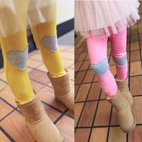 Cotton Girls Korean Style Love Heart Patch Legging Children Kids Pants 4 Colors