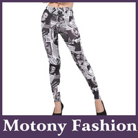 Motony Women's Fashion Newspaper Pettern Leggings Stretch Leggings