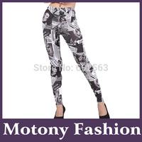 Motony Women's Fashion Newspaper Pettern Leggings Stretch Leggings
