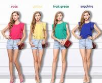 2014 Plus Size Women Summer Blouse Shirts Chiffon Ladies Short Sleeve Clothing Fashion Shirts Girl Top Casual Free Shipping