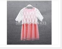 Girls 2014 summer new large crochet organza skirt children short-sleeved dress princess dress