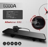 6000A Car Rearview Mirror Camera Recorder DVR Dual Lens 4.3' TFT LCD HD 1920x1080p Rear view camera 720P with  G-sensor