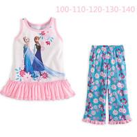 NEW Baby Girls Summer Clothing sets Fashion Girl's suit sets Frozen Princess Elsa&Anna pajamas Sets T-Shirt+ pants