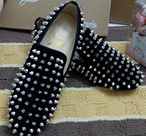 2014 new rivet sheepskin round flat red soled shoes(China (Mainland))