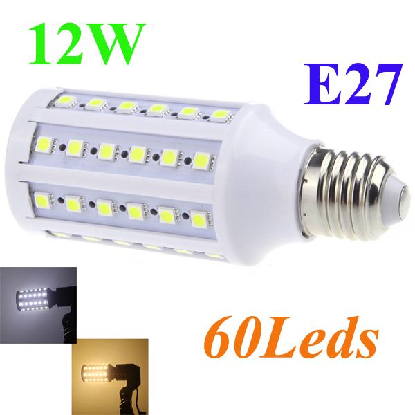E27 220V LED Corn Bulb Lamp 5050 SMD 12W 60 LEDs Energy Saving 360 Degree White/Warm White led lighting High brightness light(China (Mainland))