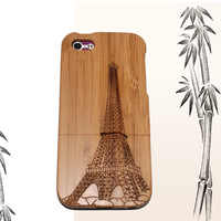 2014 New Arrival Bamboo Plug-in Protect Case Back Case With Eiffel Tower Paint For Iphone 5G 5S Drop Ship Free Shipping