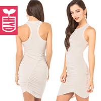 2014 summer fashion women dress sheath sexy dresses irregular turtleneck sexy hip slim tank dress mini dresses