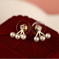 Fashion Zircon 3 Pearl Ear Cuff Earring for women 2014 trendy Punk Style Jewelry gold