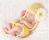 Hot selling 0-6 month baby photography props  sweet yellow color hat with flower and shorts pants knitted soft baby wearing