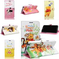 High Grade Cartoon Winnie Bear Minnie Leather Case for Samsung Galaxy N7100 Note 2 N9000 Note 3 Card Slot Flip Wallet Free Ship