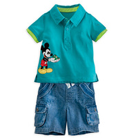 baby boys clothes set 3~6age 2014 new fashion mickey polo shirts with jeans shorts in summer two-pieces suit