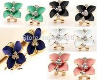 Korean accessories 5 colors sweet matt paint clover and diamond ear clip earrings!