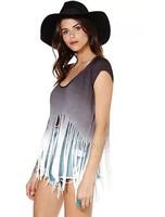 HOT HOT Women fashion tassel short tees gradient t-shirt summer tops free shipping