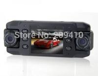 "free shipping new 2.3"" TFT Dual-Lens 140 Wide Angel Car dvr Camera video Recorder GPS G-Sensor AV output"