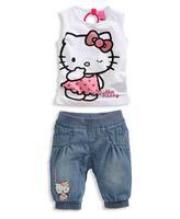 Little  girl's sleeveless   print hello kitty pattern white shirt +denim trousers  leisure suit SS346  retail free shipping
