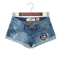 4254 - 2014 summer new Woman Vintage Jeans Shorts Europe and America Ripped Cuffs Seagull icon embroidery